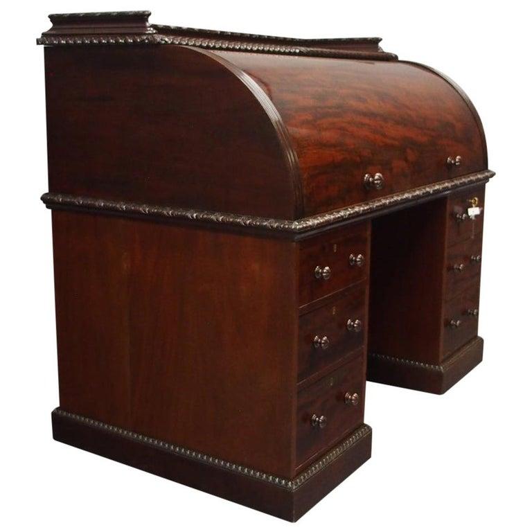 Victorian Mahogany Roll Top Bureau For Sale