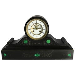 Victorian Malachite Inlaid Slate Open Escapement Mantel Clock, circa 1890