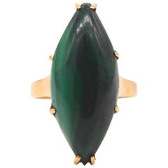 Victorian Malachite Marquise 18 Karat Gold 10 Carat Cocktail Ring