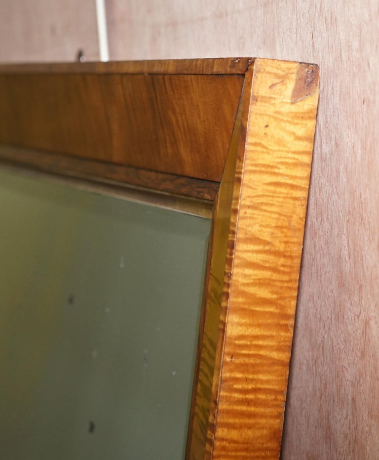 Victorian Maple Framed Wall Mirror Lovely Bevelled Timber and Distressed Glass For Sale 5