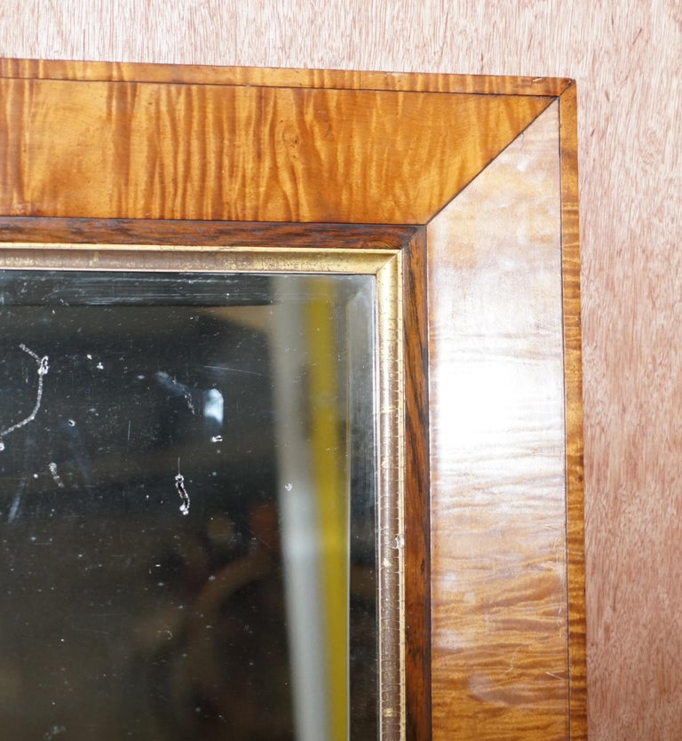 Hand-Crafted Victorian Maple Framed Wall Mirror Lovely Bevelled Timber and Distressed Glass For Sale