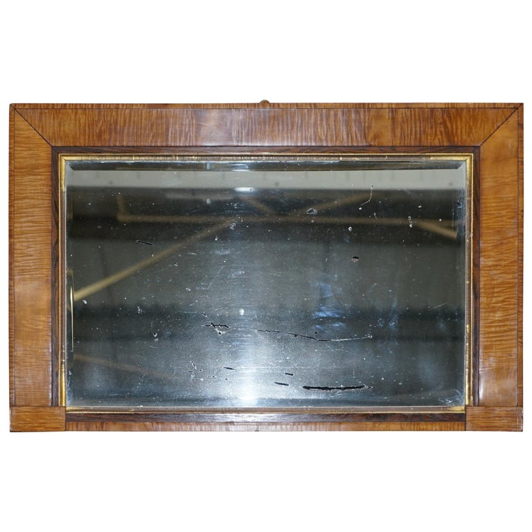 Victorian Maple Framed Wall Mirror Lovely Bevelled Timber and Distressed Glass For Sale