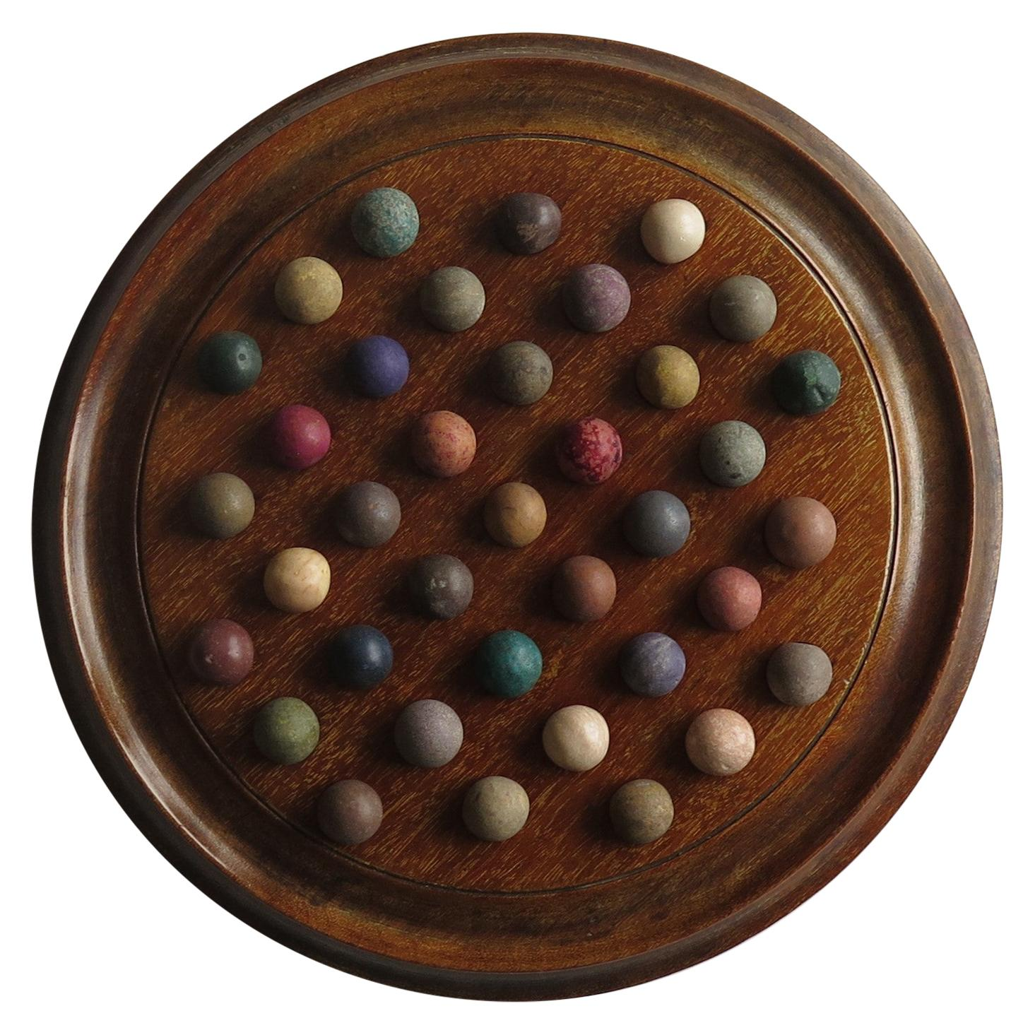 Victorian Marble Solitaire Game Mahogany Board 37 Handmade Clay or Stone Marbles