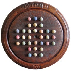 Victorian Marble Solitaire Game with Converted Folk Art Carved Breadboard