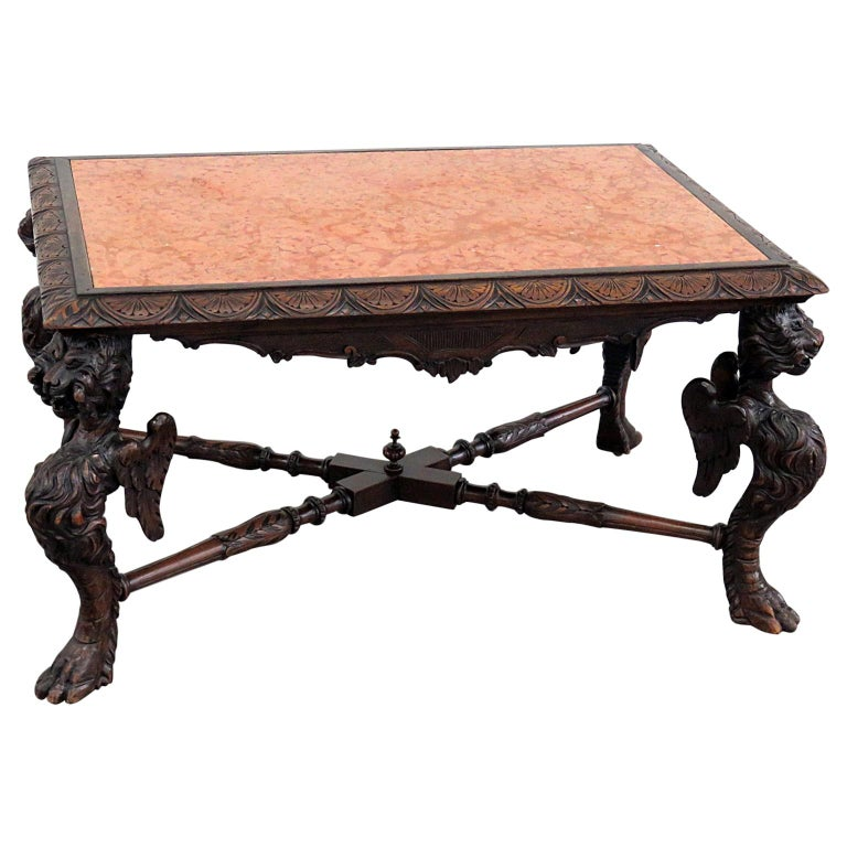 Victorian Style Marble Coffee Table: Victorian Marble Top Coffee Table For Sale At 1stdibs