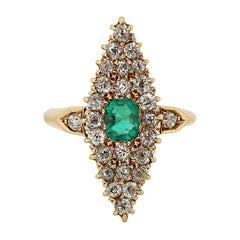 Victorian Marquise Navette Old Cut Diamond & Emerald