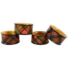 Victorian Mauchline Ware Sycamore Wood Scottish Tartan Napkin Rings, Set of Four