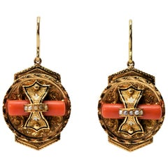 Victorian Medallion 14 Karat Yellow Gold Earrings with Coral and Pearl Accents