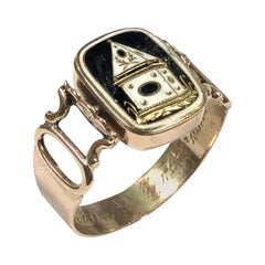 Victorian Memento Memorial Gold and Enamel Ring
