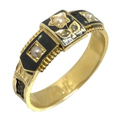 Victorian Memorial Memento Gold Enamel Hair and Gem Set Ring