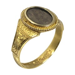 Victorian Memorial Memento Yellow Gold and Woven Hair Ring