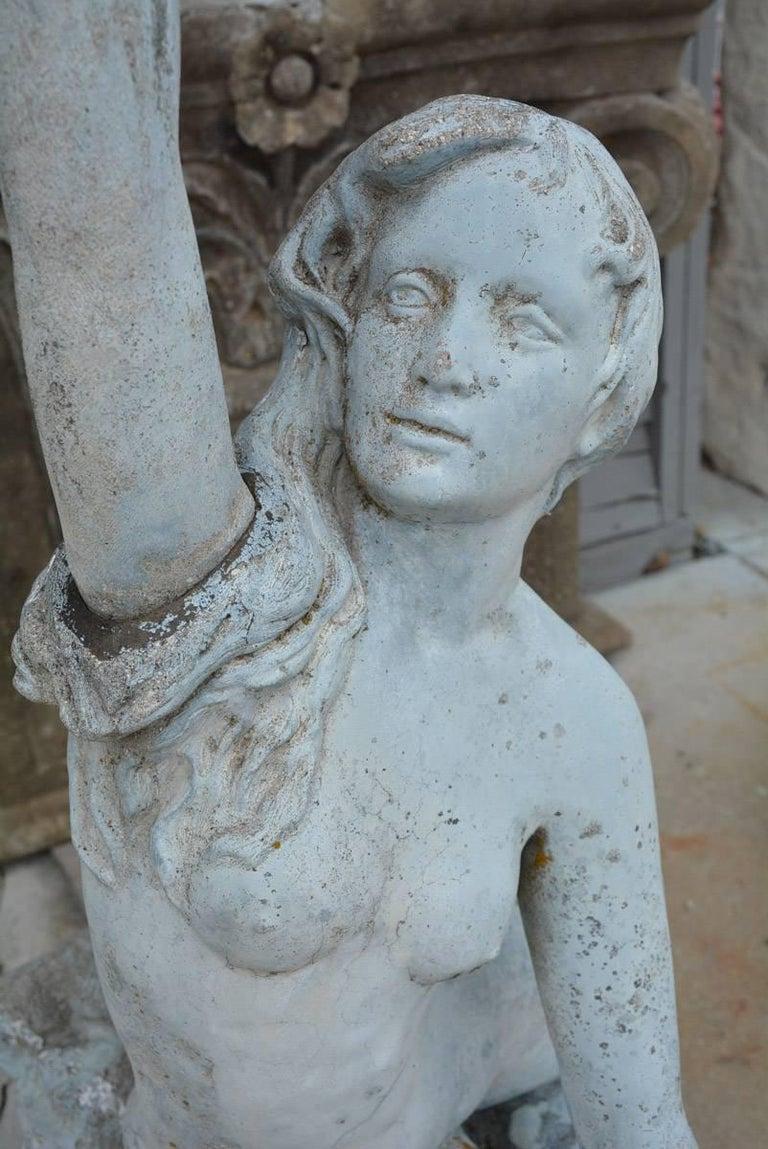 Cast Victorian Mermaid Garden Fountain For Sale