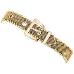 English Victorian 9 Karat Yellow Gold Mesh Belt Buckle Bracelet, circa 1880