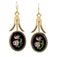 Victorian Micro Mosaic Onyx Gold Pendent Drop Earrings