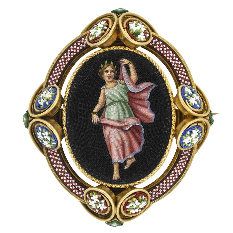 Victorian Micro Mosaic Pin/Locket with Grecian Woman Motif