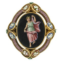 Victorian Micro Mosaic Pin/Locket with Grecian Woman Motif
