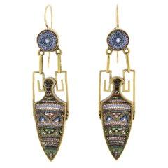 Victorian Micro Mosaic Urn Dangle Earrings