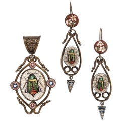 Victorian Micromosaic Beetle Earring and Pendant Suite