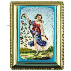 Victorian Micromosaic Brooch Depicting Flora Goddess of Spring, circa 1850