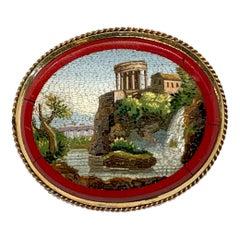 Victorian Micromosaic Villa Gregoriana and Temple of Vesta 9ct Gold Brooch