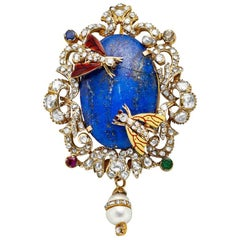 Victorian Middle Eastern 14 Karat Yellow Gold Lapis, Diamond and Pearl Pin