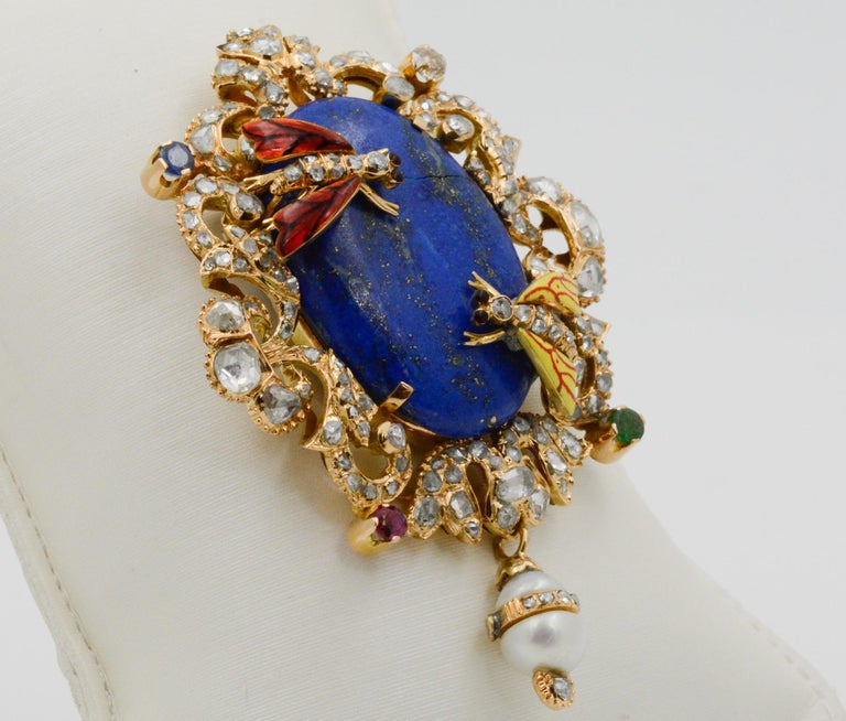 Early Victorian Victorian Middle Eastern 14 Karat Yellow Gold Lapis, Diamond and Pearl Pin For Sale
