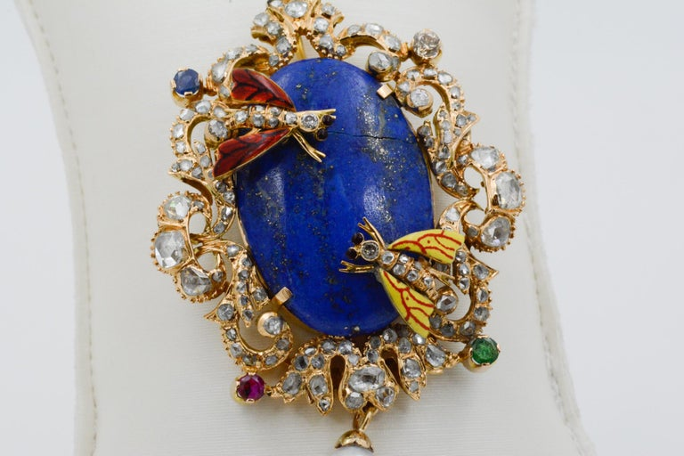 Victorian Middle Eastern 14 Karat Yellow Gold Lapis, Diamond and Pearl Pin In Good Condition For Sale In Dallas, TX