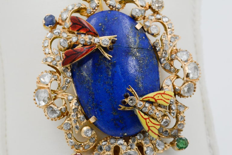 Women's or Men's Victorian Middle Eastern 14 Karat Yellow Gold Lapis, Diamond and Pearl Pin For Sale