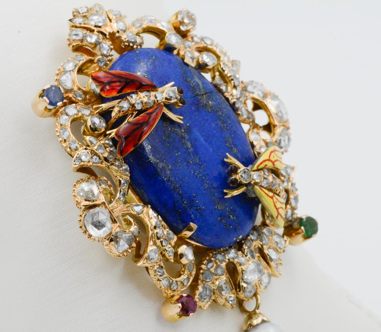 Victorian Middle Eastern 14 Karat Yellow Gold Lapis, Diamond and Pearl Pin For Sale 2