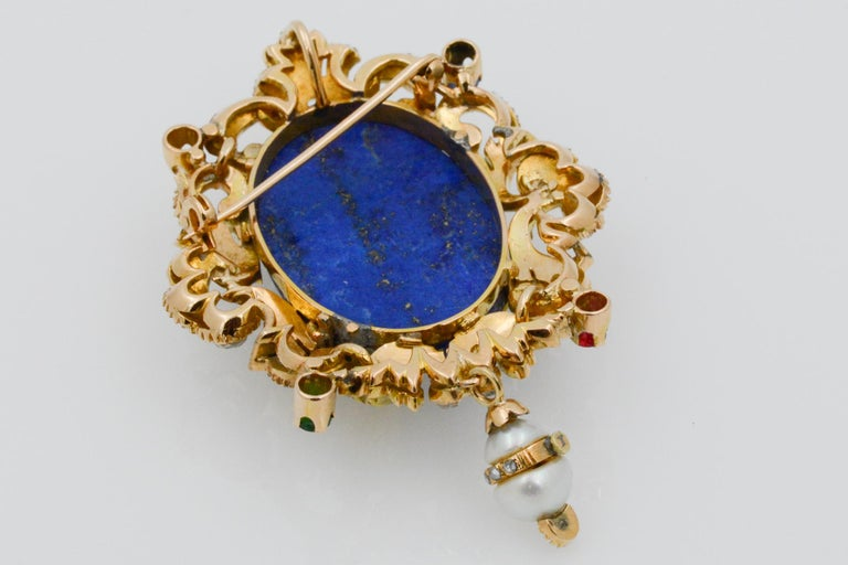 Victorian Middle Eastern 14 Karat Yellow Gold Lapis, Diamond and Pearl Pin For Sale 3