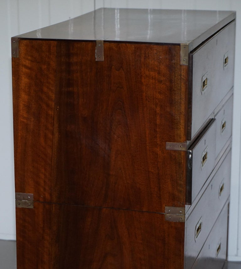 Victorian Military Campaign Chest of Drawers Built in Secrataire Drop Front Desk For Sale 3