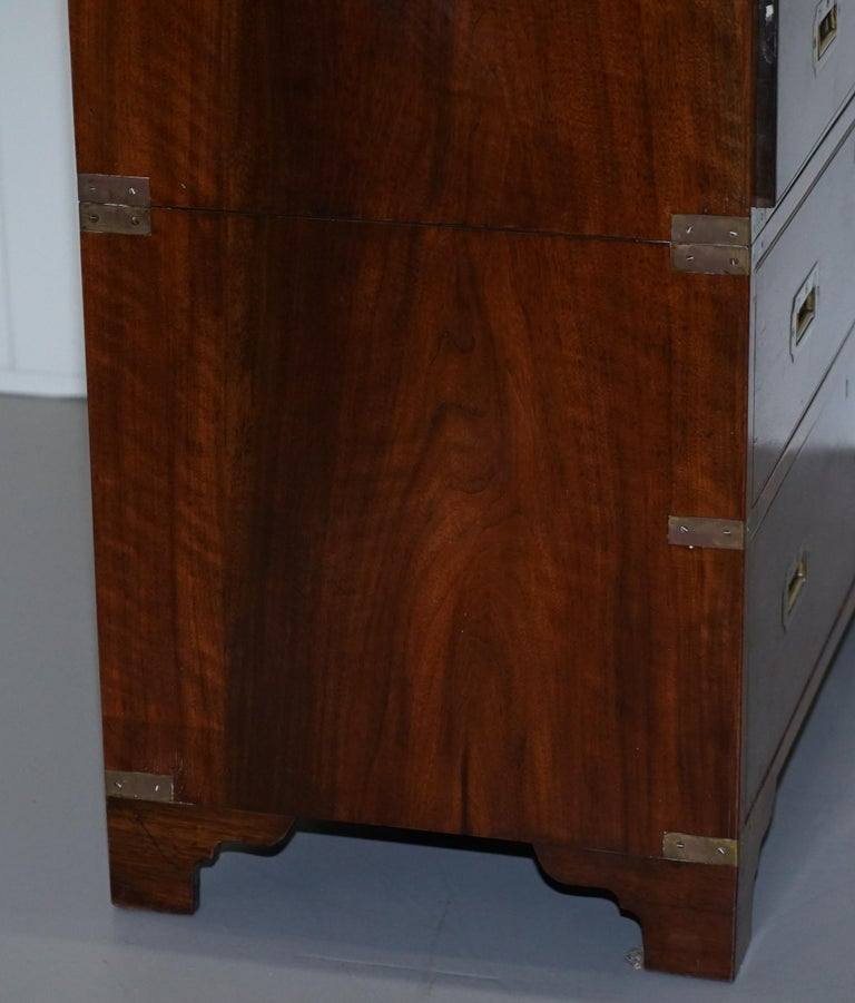 Victorian Military Campaign Chest of Drawers Built in Secrataire Drop Front Desk For Sale 4