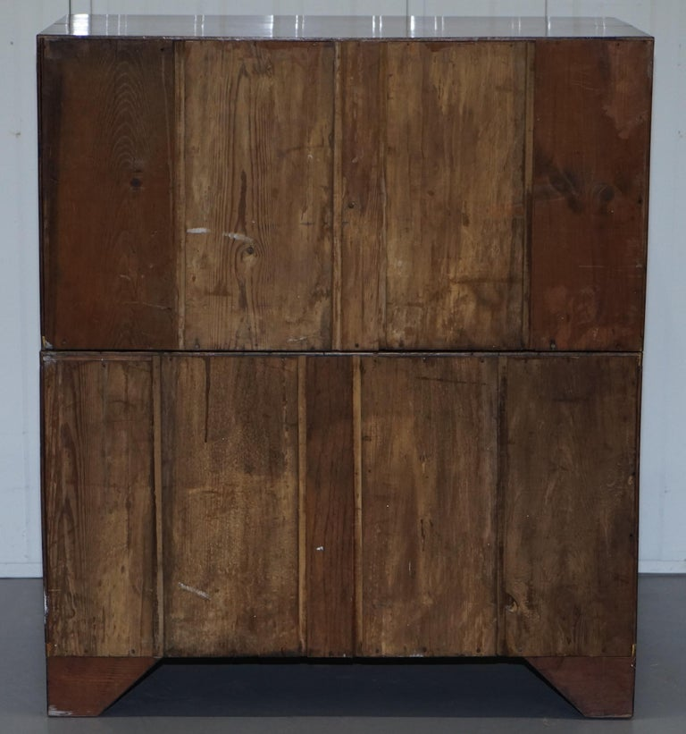 Victorian Military Campaign Chest of Drawers Built in Secrataire Drop Front Desk For Sale 5