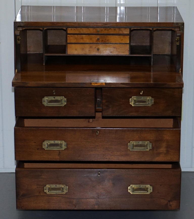 Victorian Military Campaign Chest of Drawers Built in Secrataire Drop Front Desk For Sale 7