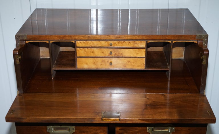 Victorian Military Campaign Chest of Drawers Built in Secrataire Drop Front Desk For Sale 8