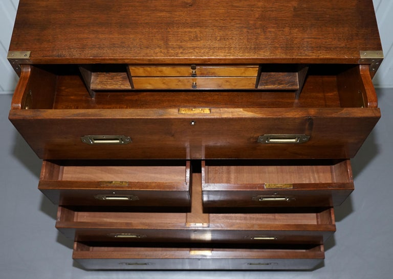Victorian Military Campaign Chest of Drawers Built in Secrataire Drop Front Desk For Sale 11