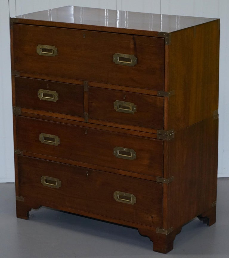 Hand-Crafted Victorian Military Campaign Chest of Drawers Built in Secrataire Drop Front Desk For Sale
