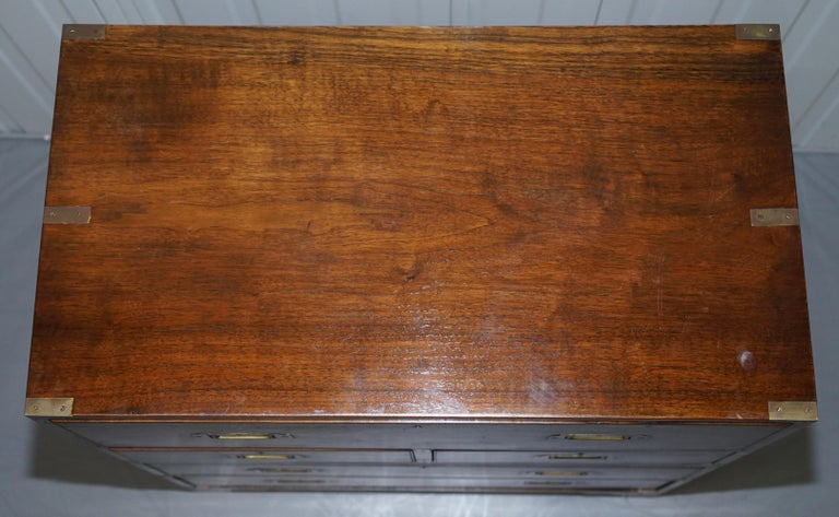 Victorian Military Campaign Chest of Drawers Built in Secrataire Drop Front Desk In Good Condition For Sale In London, GB