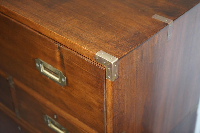 20th Century Victorian Military Campaign Chest of Drawers Built in Secrataire Drop Front Desk For Sale