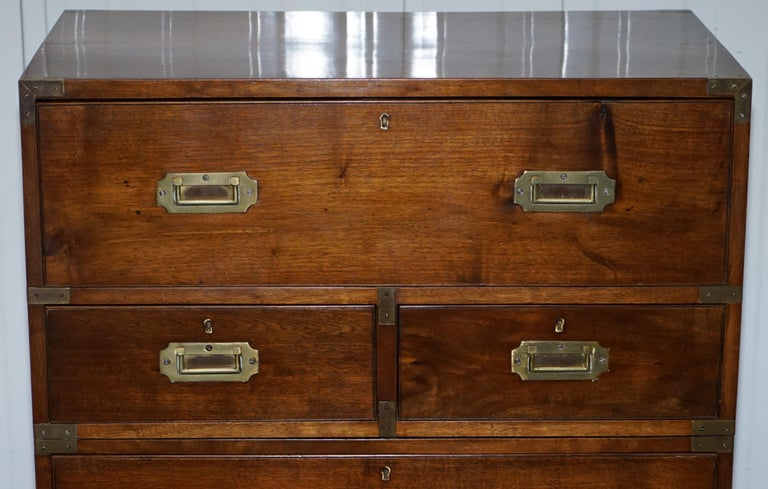 Mahogany Victorian Military Campaign Chest of Drawers Built in Secrataire Drop Front Desk For Sale