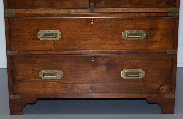 Victorian Military Campaign Chest of Drawers Built in Secrataire Drop Front Desk For Sale 1