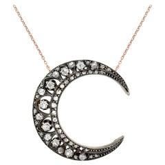 Victorian Mine and Rose Cut Diamond Crescent Necklace 1.20ctw