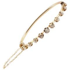 Victorian Mine Cut Diamond Bangle Bracelet 14 Karat Yellow Gold