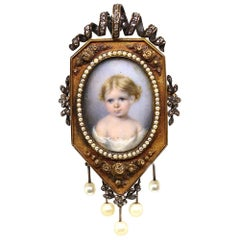 Victorian Miniature Painting Gold Pearls Brooch Pin 1870 England