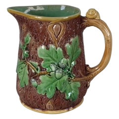 Victorian Minton Majolica Acorn and Snail Jug/Pitcher with Oak Leaves