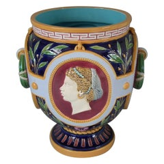 Victorian Minton Majolica Continents Americas and Africa Jardinière