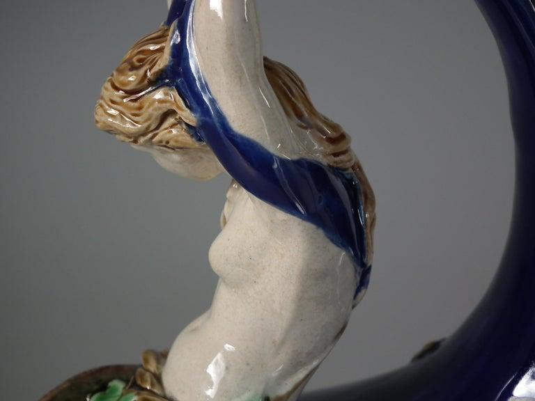 Victorian Minton Majolica Mermaid and Cherub Wine Pitcher For Sale 3