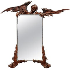 Victorian Mirror with Carved Satyr after Viardot, Venice, circa 1880