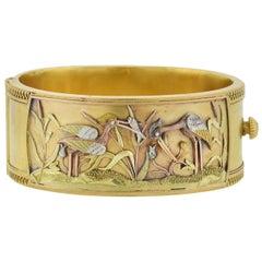 Victorian Mixed Metal Aesthetic Movement Heron Bangle Bracelet