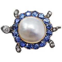 Victorian Montana Sapphire Diamond and Pearl Turtle Pin Brooch